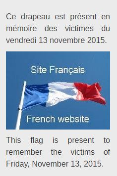 Drapeau français en mémoire des victimes du vendredi 13 novembre 2015.