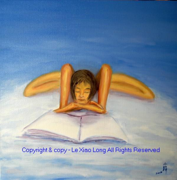 """Le tableau """"La Lectrice"""" et sa version définitive au bout de la deuxième séance - LE Xiao Long (Patrick Le Chevoir)."""