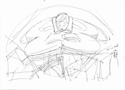 Huitième étape des dessins qui constituent la genèse du tableau de LE Xiao Long : La Lectrice.
